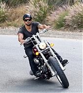 Jesse Metcalfe riding his Harley