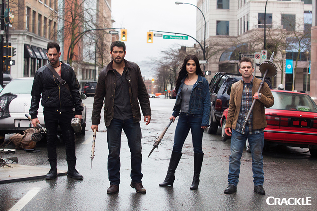 Patrick Sabongui, Jesse Metcalfe, Marie Avgeropoulos, and Ian Tracey star in Crackle's Dead Rising: Endgame